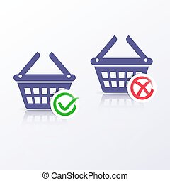 Shopping basket icons add or remove
