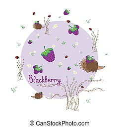 Blackberry meadow with animals