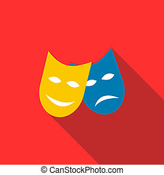Two masks icon in flat style - icon in flat style on a red...