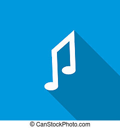 Music notes icon, flat style - icon in flat style on a blue...