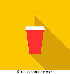 Red cardboard cup with a straw icon, flat style - icon in...