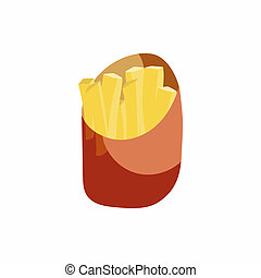 French fries in a paper wrapper icon - icon in cartoon style...