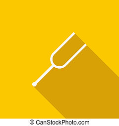 Tuning fork icon, flat style - icon in flat style on a...