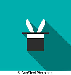 Rabbit appearing from a top magic hat icon - icon in flat...