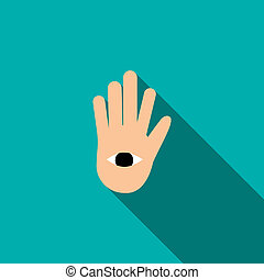 Hand with the eye icon in flat style - icon in flat style on...