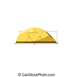 Yellow tent icon, cartoon style - icon in cartoon style on a...