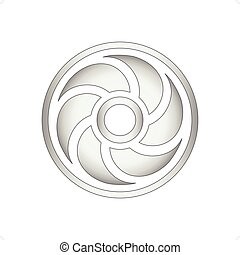 Fan or computer cooler icon vector illustration isolated on...