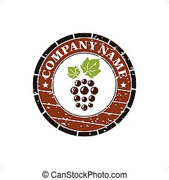 Wineshop - Wine barrel with grape label vector illustration...