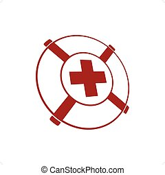 Life Preserver - Lifebuoy with red cross inside vector...
