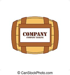 Barrel Logo - Brown wine barrel with label vector...