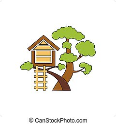 Tree House - Cartoon house on tree for kids vector...