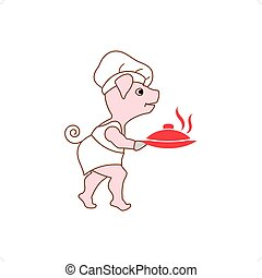 Pig Chef - Cartoon chef pig holding hot food plate vector...