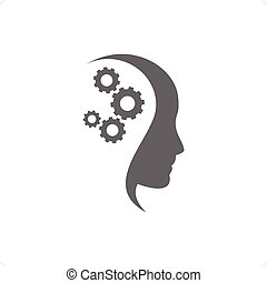 Thinking Head - Head and brain gears in progress vector...
