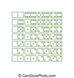 Dominoes - Green dominoes game icon set vector illustration...