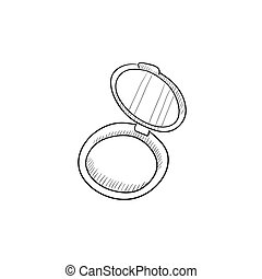 Powder box sketch icon - Powder box vector sketch icon...