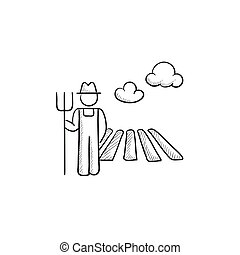 Farmer with pitchfork at field sketch icon - Farmer with...