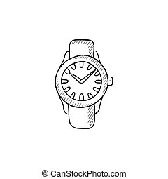 Wrist watch sketch icon - Wrist watch sketch icon for web,...