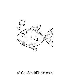 Small fish sketch icon. - Small fish vector sketch icon...
