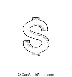 Dollar symbol sketch icon - Dollar symbol vector sketch icon...