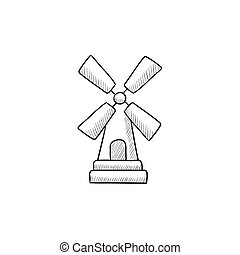 Windmill sketch icon - Windmill vector sketch icon isolated...