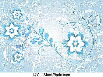 Grunge blue floral frame (vector)