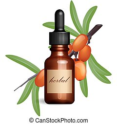 Realistic essential oil bottle and seabuckthorn branch with...