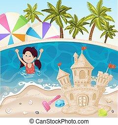 Illustration of sand castle on sea beach