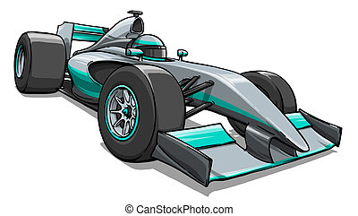 child's funny cartoon formula race car illustration art