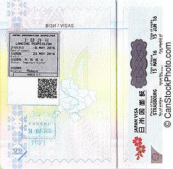 Visa and passport stamps of Japan