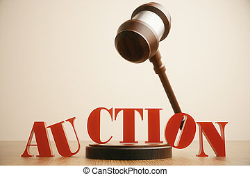 Auction gavel in mid air on light background. 3D Rendering
