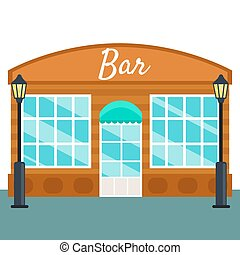 Bar building front exterior flat style. Vector illustration...
