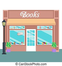 Book shop and store, building front flat style. Vector...
