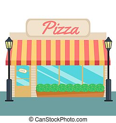 Pizza shops and store front flat style. Vector illustration...