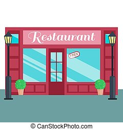 ?estaurant Caffee front flat style Vector illustration...