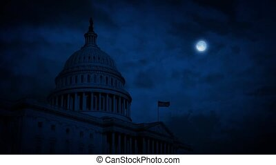 US Capitol Building At Night - Capitol Hill in the dark with...
