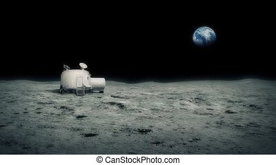 Moon Base With Earth In The Distance