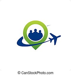 Airlines green pointer with airplane goes around and group...