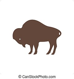 Buffalo silhouette vector illustration isolated on white...