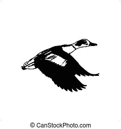 Duck Flying - Flaying duck silhouette vector illustration...