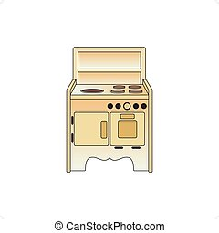Cooker - Old cooker vector illustration isolated on white...