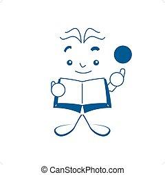 Genius - Cartoon style blue genius book like vector...