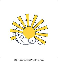 Bio Energy - Hand holding sun vector illustration isolated...