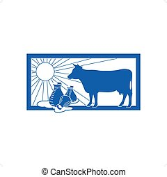 Dairy Logo - Agriculture breeding dairy cattle with milk and...