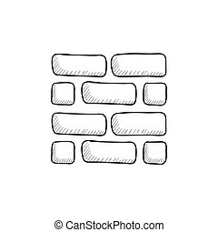 Brickwall sketch icon - Brickwall vector sketch icon...
