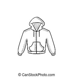 Hoodie sketch icon - Hoodie vector sketch icon isolated on...