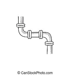 Water pipeline sketch icon - Water pipeline vector sketch...