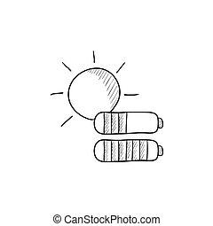 Solar energy sketch icon - Solar energy vector sketch icon...