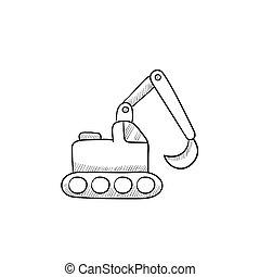Excavator sketch icon - Excavator vector sketch icon...