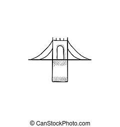 Bridge sketch icon - Bridge vector sketch icon isolated on...