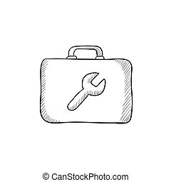 Toolbox sketch icon - Toolbox vector sketch icon isolated on...